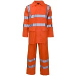 Hi Vis Orange Waterproof Professional Work Rain Suit - Jacket + Over Trousers