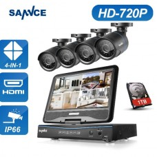 Set Sannce 4CH 720P 4 Day Night Camera DVR CCTV Security with Monitor 1T