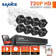 Set SANNCE 16CH DVR 8 Cameras 1.0MP Security System with 1TB HD CCTV