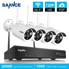 Sannce 4CH Wireless CCTV Outdoor Wifi Security System  720P DVR HD 1.3MP Camera