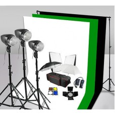 540w Studio Flash Lighting 1.8x2.8m BWG Muslin Backdrop Kit