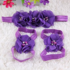 Foot Flower Sandals plus Headband for Baby Girls