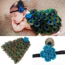 Newborn Baby Peacock Headband Photography Costume
