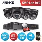 ANNKE 4CH H.265+ 5MP Lite CCTV System DVR 4pcs Dome Cameras 2.0MP IR Night Vision Security Black