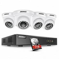 27422 ANNKE 4CH H.265 + 5MP Lite CCTV System DVR 4pcs Dome Cameras 2.0MP IR Night Vision Security White