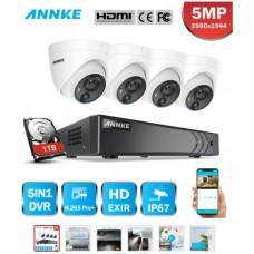 27655 ANNKE 8CH 5MP Lite Security Camera System DVR - 4PCS 5MP Dome Surveillance CCTV Kit