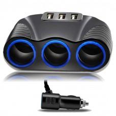 25720 3 USB Car Cigarettes Lighter Socket Splitter