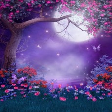 200x300cm 7X10ft Photography Background Moon Tree Flower