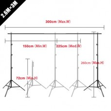 21745 2.6 x 3m 8.5 x 10ft Backdrop Stand Adjustable Photography Muslin Background Support System