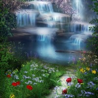 200x300cm 7X10ft Photography Background Water Fall