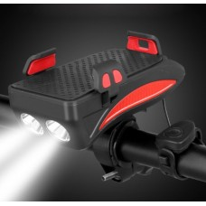 35228 4 In 1 Bike Light Rechargeable Flashlight Phone Holder Horn Can Charge Mobile Phones