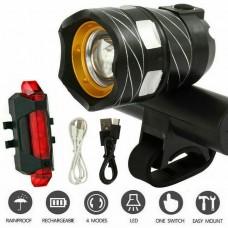 35225 Bike Headlight Front Back light Set USB Rechargeable XML T6 LED