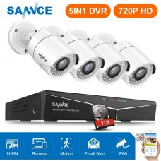 Set SANNCE 4CH 5IN1 DVR CCTV Security White Cameras System 1TB