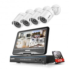 SANNCE 4CH 10.1 LCD Monitor 720P CCTV Security 1MP Camera System 1T