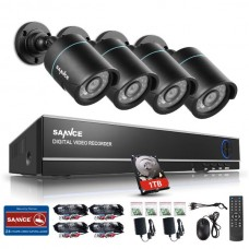 SANNCE 4CH 1080N HDMI DVR Outdoor 720P IR CCTV Video Security Camera System 1TB