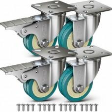 181043 4 Castor Wheels 50mm Rubber Trolley Furniture Caster Table