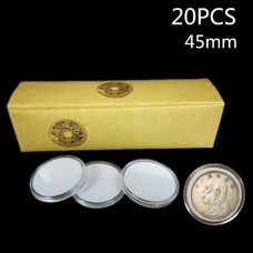 0556 20Pcs 45mm Round Clear Plastic Coin Holder Capsules