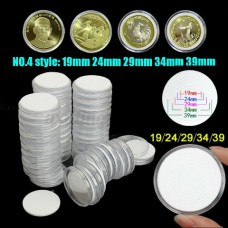 0553 50Pcs 51mm Round Clear Plastic Coin Holder Capsules for 19 24 29 34 39mm