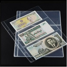 10Pcs Note Banknotes Currency 3-Pocket Holder Page