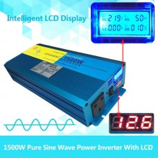 1500W to 3000W peak pure sine wave power inverter DC 12V to AC 240V caravan converter LCD