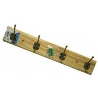 37711 Hangers Clothes Pine Wood Rack 4 Hooks