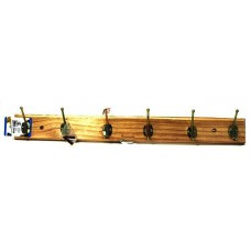 37712 Hangers Clothes Pine Wood Rack 6 Hooks