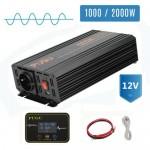26811 Inverter 1000W Pure Sine Wave Power DC converter LCD + Digital Remote Control