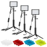 29423 Neewer 3 Packs 66pcs Tabletop LED Video Light with Mini Tripod Stand and Color Filters