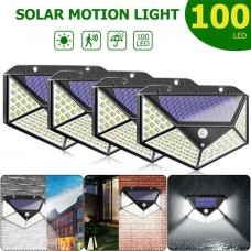 37533 4x 100 LED Outdoor Solar Power Wall Light PIR Motion Sensor Garden Security Lamp