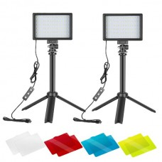29422 Neewer 2 Packs 66pcs Tabletop LED Video Light with Mini Tripod Stand and Color Filters