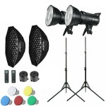 45123 2x Godox SL-60W LED lamp video studio light kit + 95cm softbox grid + 2M tripod