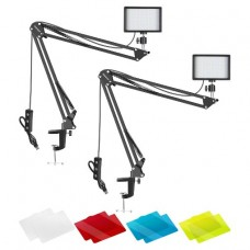 29413 Neewer 2 Packs 66pcs Tabletop LED Video Light Plus Arm Stand