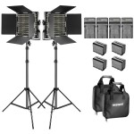 45221 Neewer 2x 660 Pieces (330 White+3300 Yellow)  LED Video Light and Stands, Battery