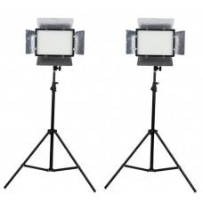 504 2 x LED Photo Studio Video Light Panel Kit
