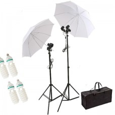 Umbrella Set 500W 4 Bulb White Continuous Lighting