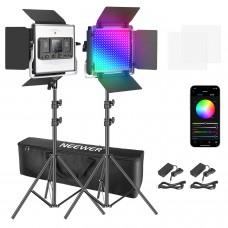 45224 Neewer 2x Packs 480 RGB Led Light with APP Control Metal Shell