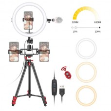 29444 Neewer 8-Inch Selfie LED Ring Light with Tripod Stand, 3 Phone Holders