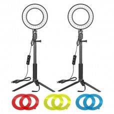 29433 Neewer 2x 6-inch Dimmable LED Ring Light with Tripod Stand & Color Filter