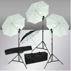 Umbrela Set 255W 3 White Umbrella Continuous Lighting Kit