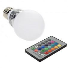 3W E27 RGB LED Bulb  24KEY Remote Controller