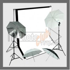 Umbrella Kit 3 x 3.6m Muslin White, Black  Background Stand 2x3m 210W