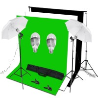 9W LED Lighting Light 1.6m x 2m Black White Green Backdrop Umbrella Stand Kit
