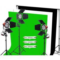 2400W Redhead Red Head Focus Lighting Light Stand Black White Green Backdrop Kit