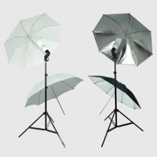 Umbrella Set 2 White 2 Black/Silver Umbrella Continuous Lighting