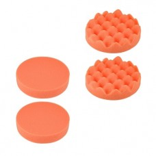 "36844 5"" Buffing Sponge Pads Drill Polishing Buffer Flat Wave Pad Disc 4pcs"
