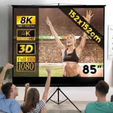 """2818 Screen Portable White 85"""" 152x152cm 4:3 Pull Down Projector Cinema Tripod"""