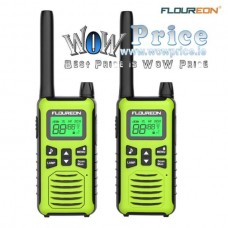 26111 2X FLOUREON 16 CH Walkie Talkies PMR 446MHZ 2 Way Handheld 5000M Green