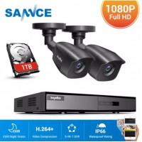 27722 SANNCE HD 4CH CCTV System 1080N DVR 2PCS Cameras DVR Kit