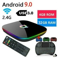 Q-Box Plus Quad Core 4GB+32GB Android 9.0 TV Box HD Smart+Wireless Keyboard