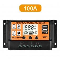 26431 12/24V USB Solar Panel 100A Battery Regulator Charge Intelligent Controller